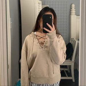 Tan lace up hoodie